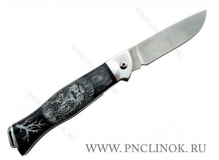 Нож Складной Черный ЛЕВ. s390. 70 HRC