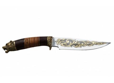 """Нож """"Кабан"""". Позолота. Подарочное исполнение."""