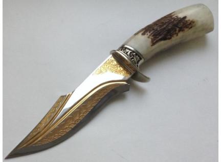 """Авторский нож """"Скорпион"""". Позолота."""