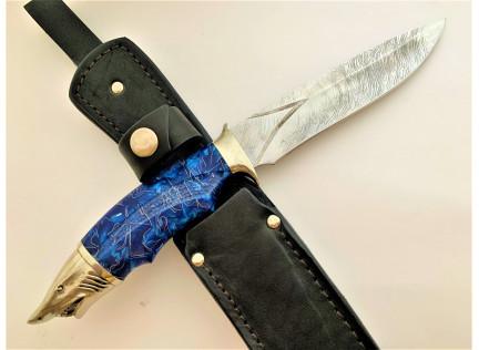 "Авторский нож ""Голубая Акула"". Дамаск"